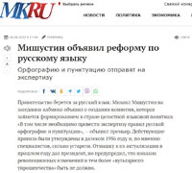 Русский язык: фронт работ для государства?