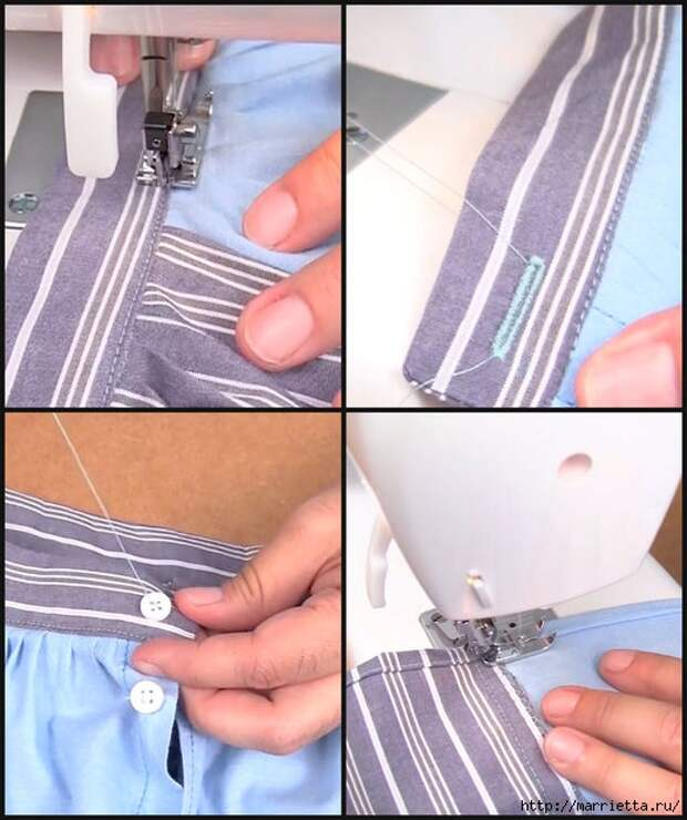 Юбка с карманами из двух мужских рубашек. Видео мастер-класс (4) (519x620, 180Kb)
