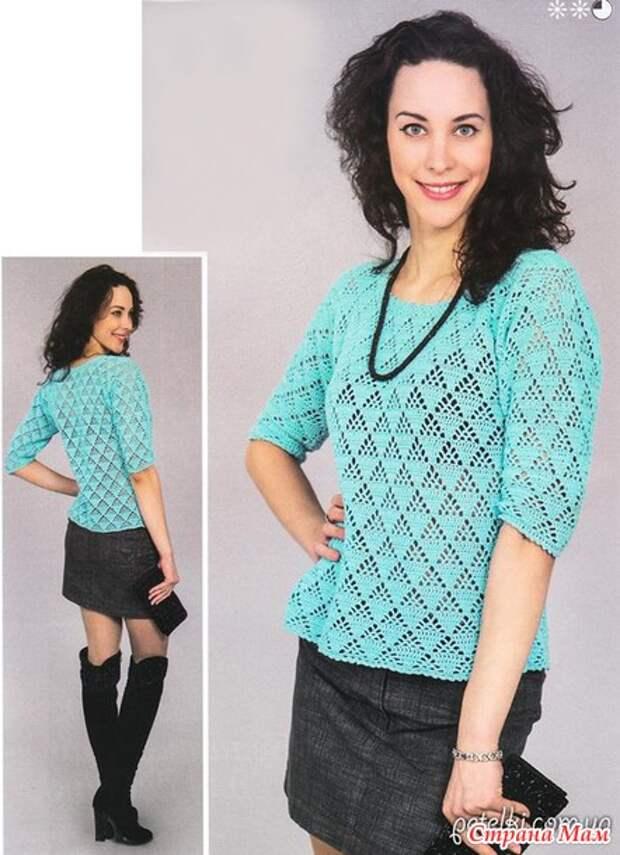 Ажурный пуловер с короткими рукавами крючком