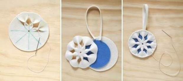 Снежинки из фетра. Как сделать новогодние игрушки из фетра своими руками