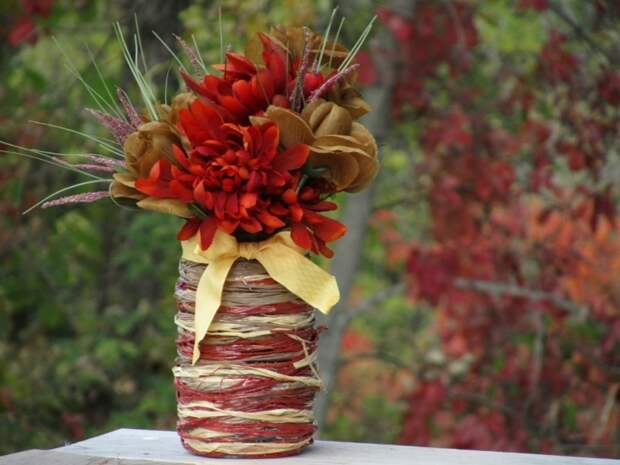 САМОДЕЛКИ.  Как сделать красивую и оригинальную вазу