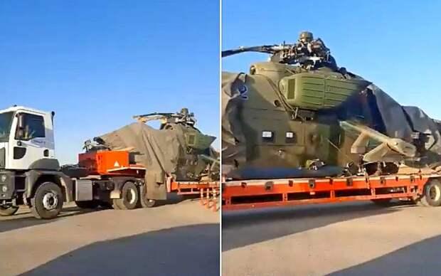 Кадры эвакуации российского Ми-35, рухнувшего в сирийской провинции Эль-Хасака