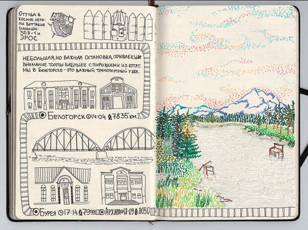 Белогорск - Архара. путешествие, рисунки