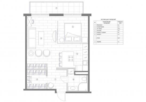Дизайн-интерьера квартиры-студии, зонирование студии