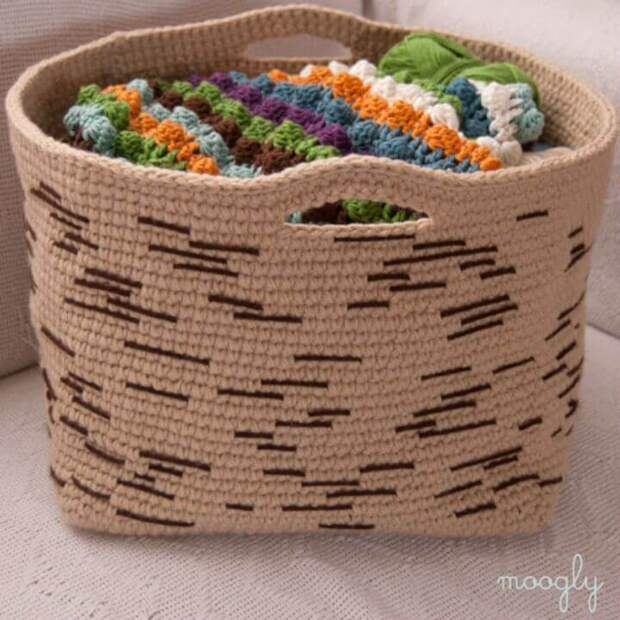 23 прелестные корзинки, вязанные крючком, для уютного дома