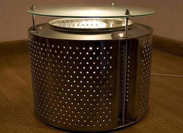 Столик с подсветкой из барабана стиральной машины