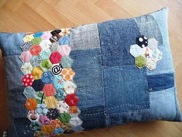 Идейки для пристроя старых джинс - декоративные подушки