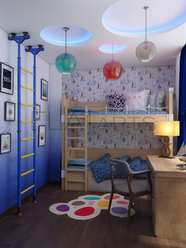 Дизайн-проект двухкомнатной квартиры, детская для двух мальчиков, двухъярусная кровать для детей