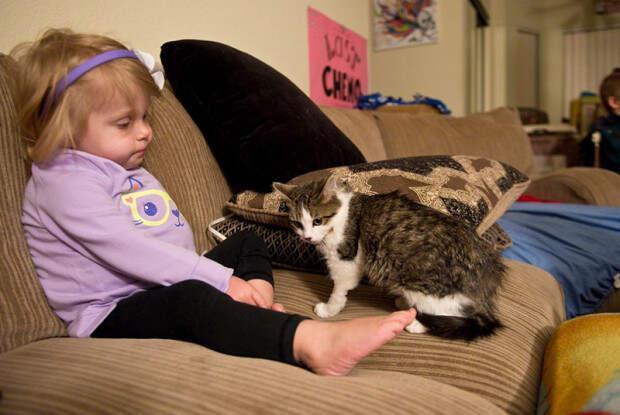 Девочка без руки и трехлапый котенок нашли друг друга