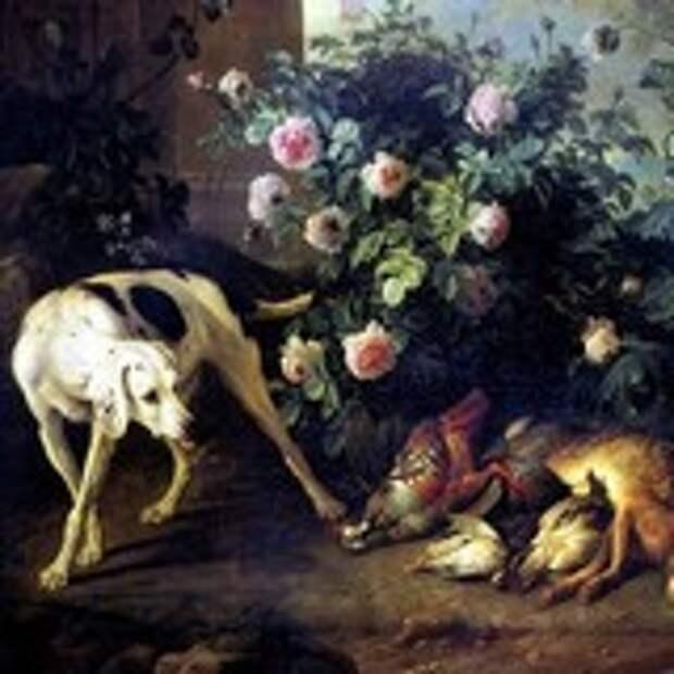 Натюрморт с собакой и битой дичью у розового куста
