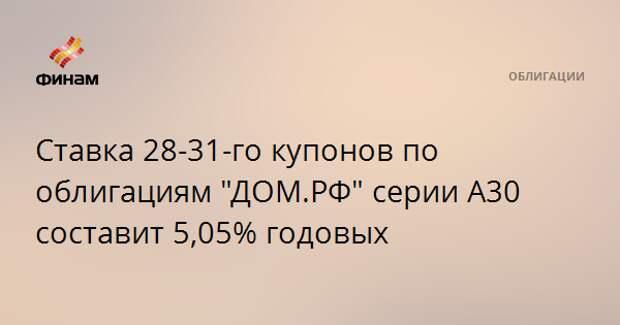 """Ставка 28-31-го купонов по облигациям """"ДОМ.РФ"""" серии А30 составит 5,05% годовых"""