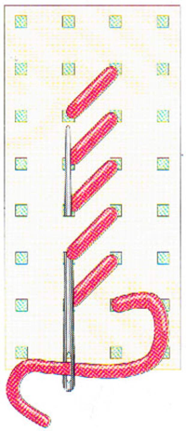 Вышивание крестиком по вертикали. Движение вперед (фото 5)