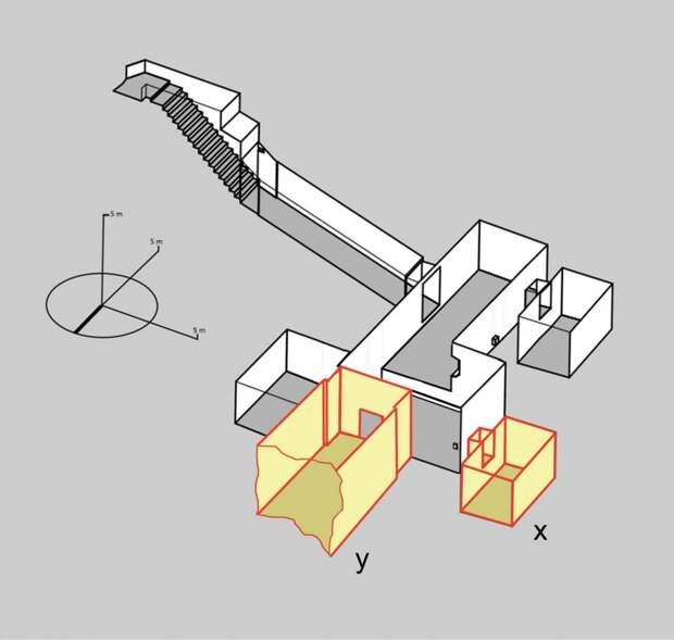 Модель гробницы Тутанхамона. Жёлтым цветом показаны «тайные» комнаты. Изображение: Nicholas Reeves / www.academia.edu/14406398/The_Burial_of_Nefertiti_2015_.