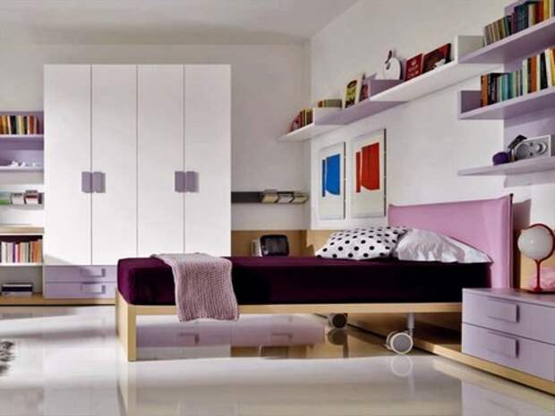 Холодные оттенки розового: от фиолетового до лавандового в интерьере комнаты подростка, которая не выглядит слишком «девчачьей», мебель «Zalf»