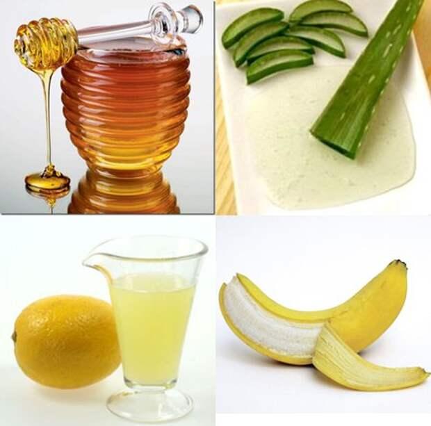 мед, банан, алоэ, сок лимона