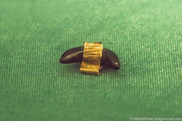 Подвеска серповидная гешированная (гагатовая) с золотой обкладкой. Золото сарматов.