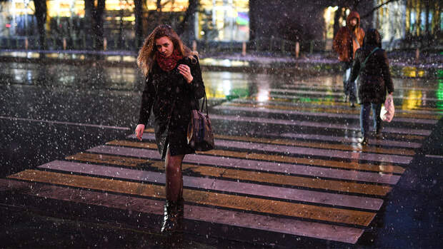 Москвичей предупредили о мокром снеге с дождем