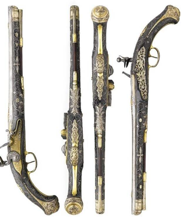 Голландская пара пистолетов, 18 век, флинтлок. искусство, огнестрел, оружие, старинное