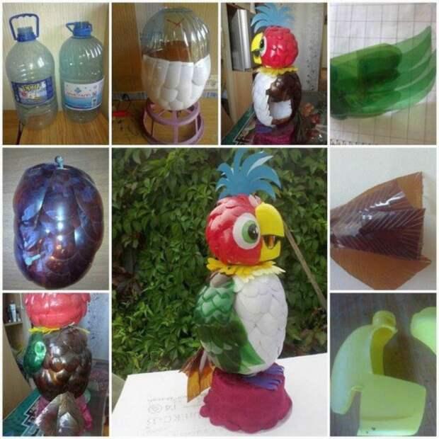 Попугай Кеша бутылка, пластик
