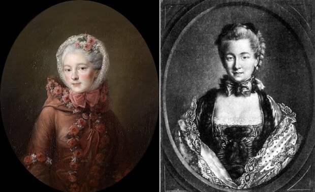Слева – Франсуа-Юбер Друэ. Наталья Петровна Чернышева. Справа –Гравюра Петера с портрета Друэ