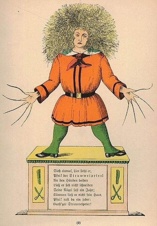На викторианской иллюстрации изображён мальчик с непокорными волосами и невероятно длинными ногтями.