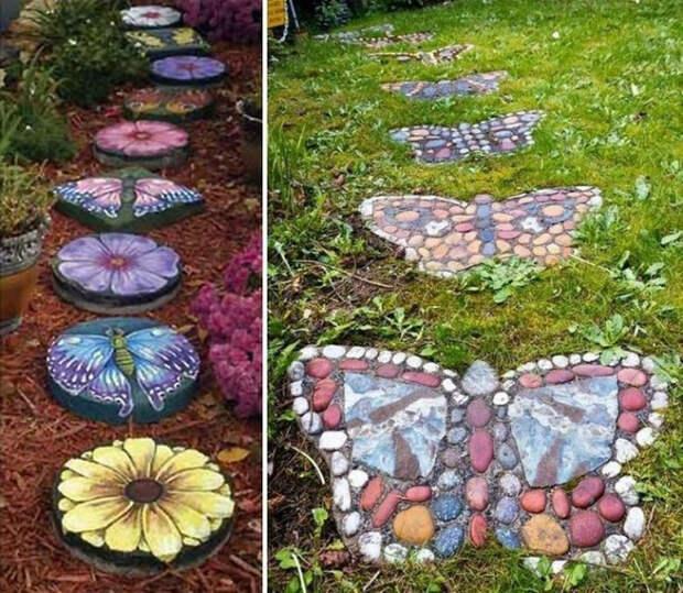 Дорожки из разноцветных камней, выложенных в виде бабочек и цветов.