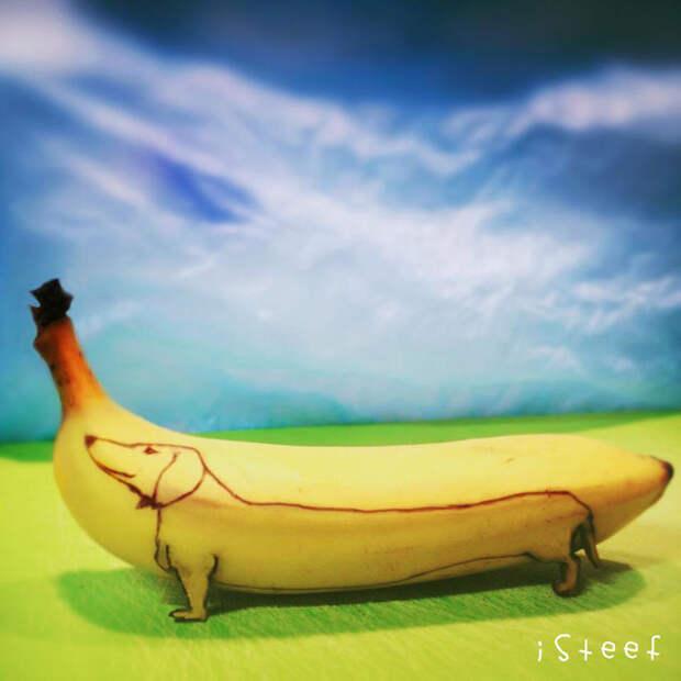 Бананы как полотно для творчества