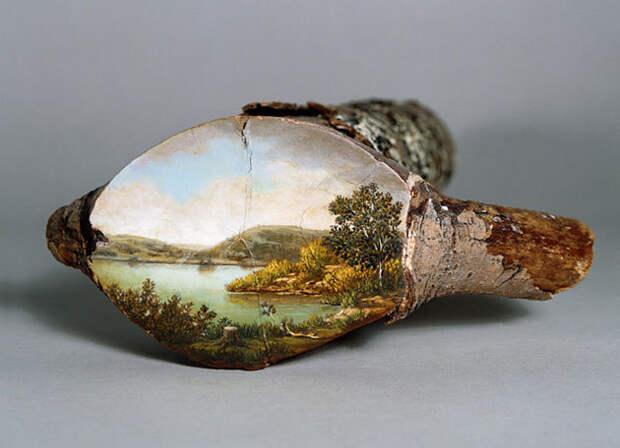 Красивейшие картины на спиле дерева