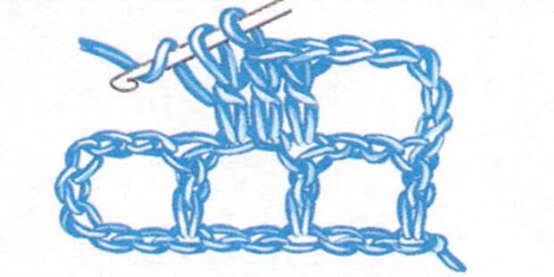 Филейная сетка с пустыми и заполненными клеточками, выполненная столбиками с накидом (фото 6)