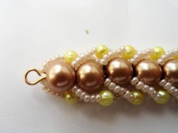 Красивый браслет из бисера и бусин. Фото мастер-класс (22) (520x390, 106Kb)