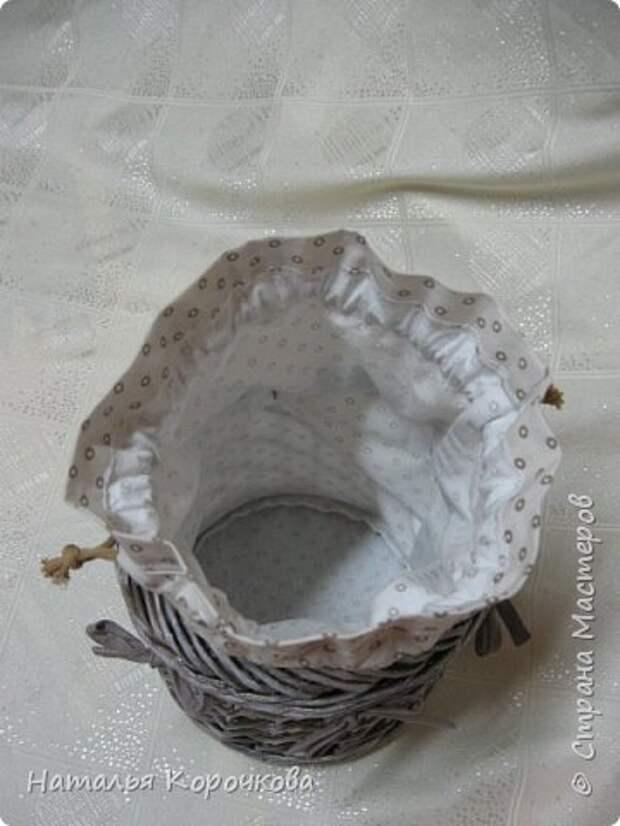 Поделка изделие Плетение Шитьё Корзинка для сушеных трав и еще кое-что Салфетки Ткань Трубочки бумажные фото 3