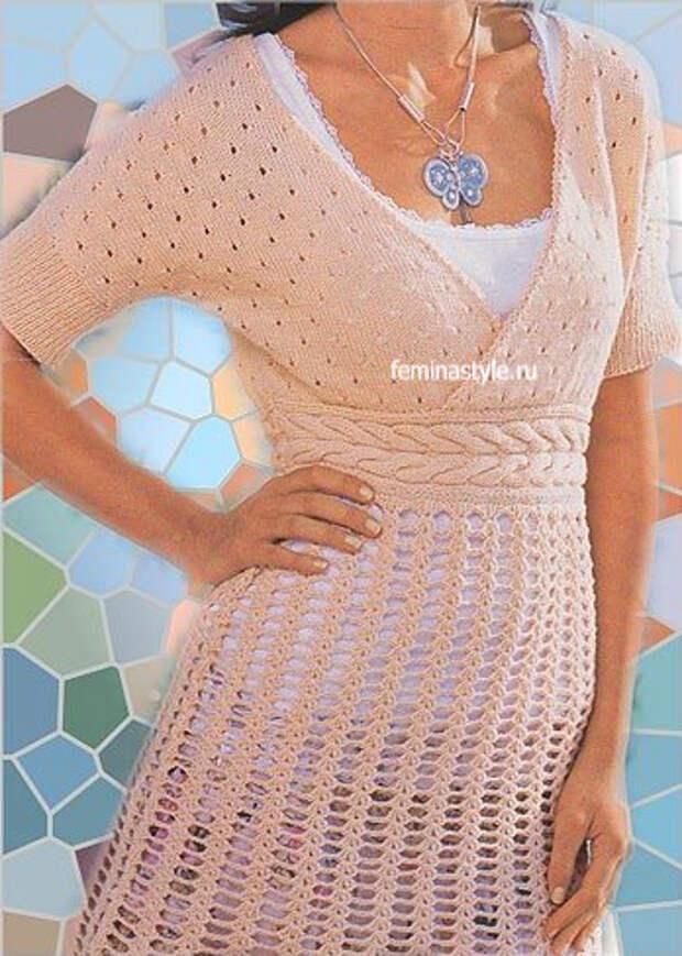 Платье-туника цвета пудры