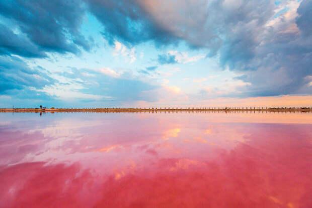На озеро Сасык-Сиваш часто приезжают насладиться совершенно сказочным видом