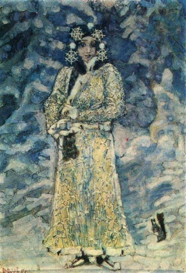 М. Врубель. Снегурочка, 1890-е. Эскиз для костюма в опере Н. Римского-Корсакова