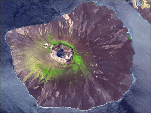 12. Вулкан Ла-Кумбре, остров Фернандина, Галапагос в мире, озеро, природа