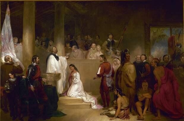 Джон Чепмэн. Крещение Покахонтас, 1840