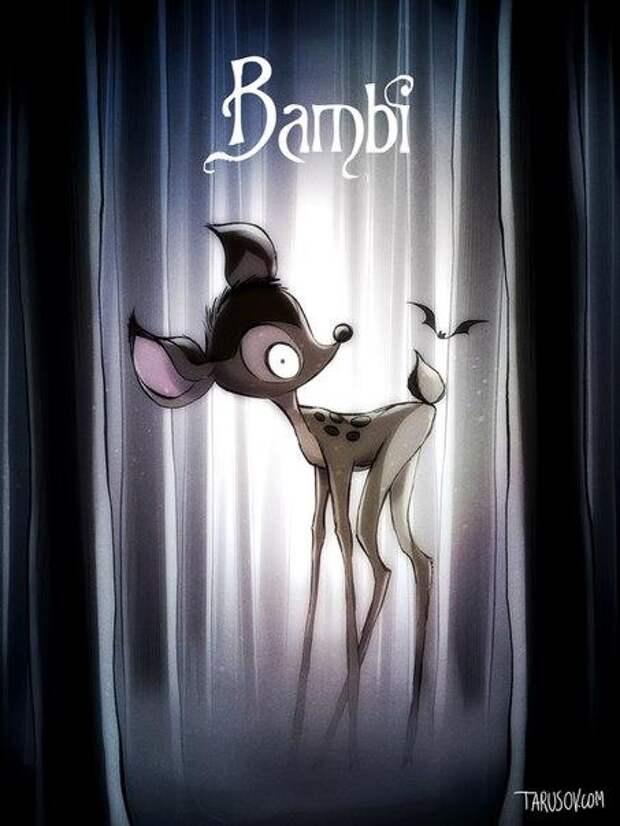 Если бы знаменитые мультфильмы Диснея рисовал Тим Бёртон...