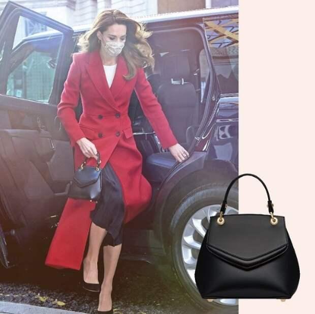 кейт миддлтон в красном пальто выходит из машины