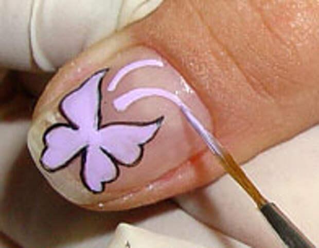 Как нарисовать бабочку на ногтях (7) (196x153, 27Kb)