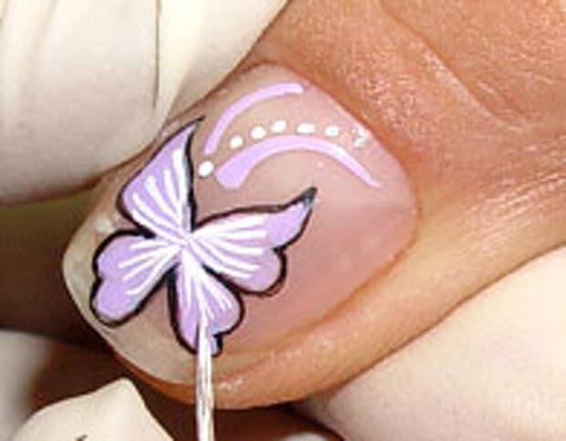 Как нарисовать бабочку на ногтях (9) (196x153, 29Kb)