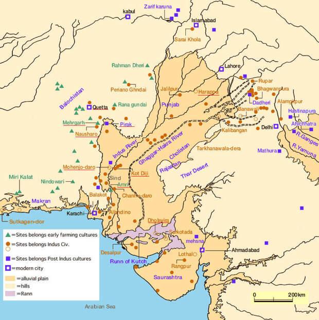 Цивилизация долины Инда включала участки, расположенные вдоль побережья Макрана