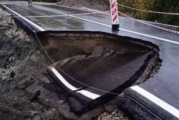В Брянске за неделю разрушилась новая дорога, которую открывали Неверов и губернатор