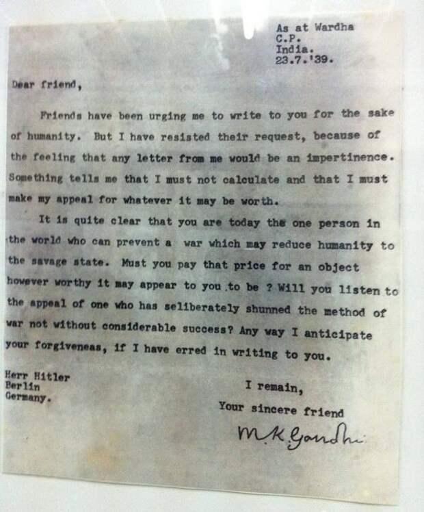 Письмо Ганди Гитлеру, 23/7/1939  интересно, история, фото