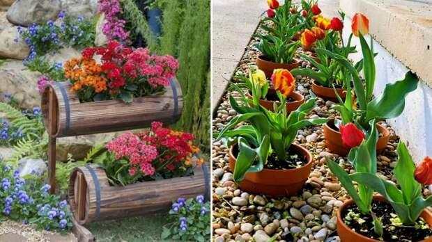 Оригинальные цветочные клумбы, сделанные своими руками.
