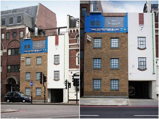 Перевернутый вверх тормашками фасад старой конюшни некоторое время украшал улицы Лондона.
