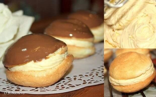 """Бисквитное пирожное с кремом (не осмелюсь назвать его """"Буше"""", но по вкусу очень напоминает)"""