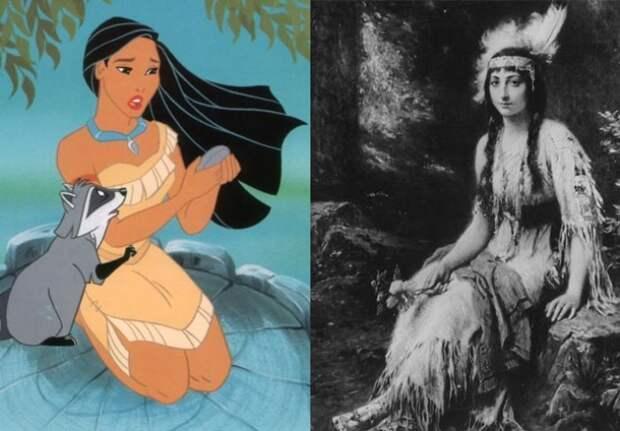 Покахонтас из мультфильма и один из предполагаемых портретов ее прототипа