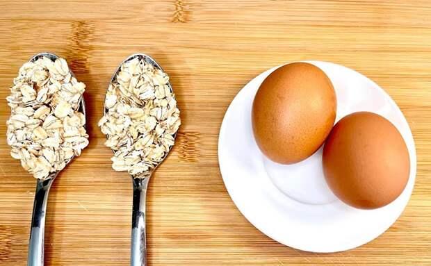 2 яйца и 2 ложки овса: жарим сытный блин без муки и дрожжей