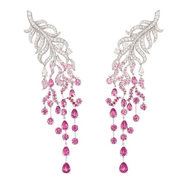 """Chanel """" Plume enchantée"""" earrings in 18 karat w"""