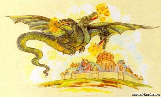 Художественное изображение Змея Горыныча из русской мифологии
